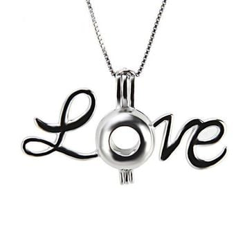 925 Sterling Silver Love Pearl Cage Pendant