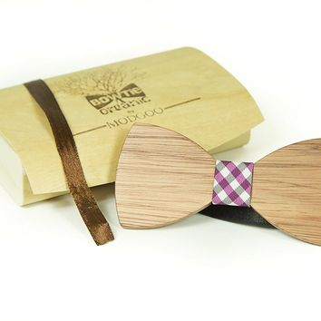 Modgoo Organic Wood Bow Tie Ryan Burberry pattern pink and black