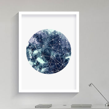 Geometric Art Moon Galaxy Sky Space Stars Print Geometric Watercolor Art Astronomy Science Wall Art Home Decor Nebula Dreamy luna home decor
