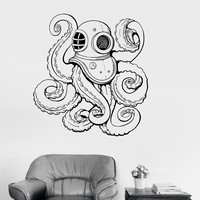 Vinyl Wall Decal Octopus Tentacles Diver Marine Nautical Decor Bathroom Stickers Unique Gift (ig3195)