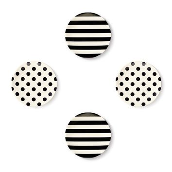 Kate Spade Black & White Tidbit Plates - Set of 4