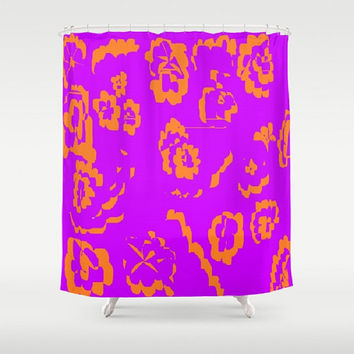 Orange Purple Shower Curtain Purple Shower Curtain Floral Abstract Shower Curtain Purple Orange Pattern Shower Curtain Orange Print