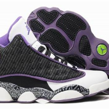 Hot Nike Air Jordan 13 Retro Women Shoes Black Purple White