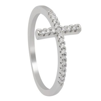 Trend Sideways Cross silver plated rings Fashion Jewelry crystal vintage wedding ring for women