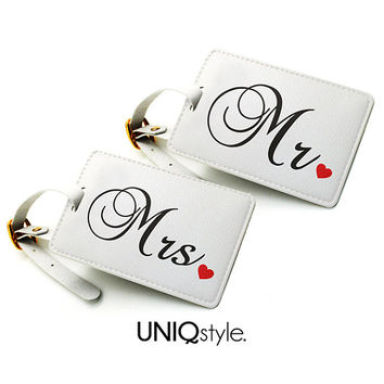 Personalized tags set pair - Mr. and Mrs. couple luggage tag, travel bag tag, name tag - Wedding Gift honeymoon - set for 2 two tags - N22