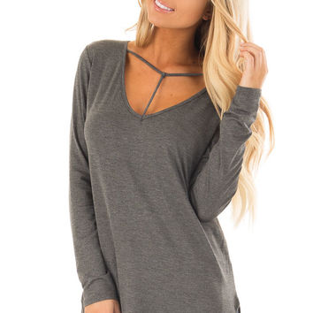 Charcoal Long Sleeve Top with T Strap Neckline Detail