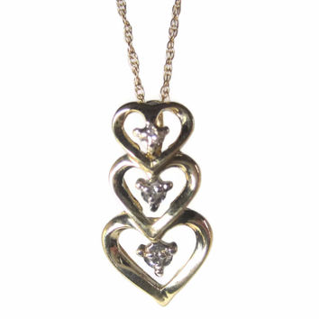 Dainty Vintage 10K Diamond Heart Pendant Necklace