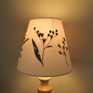 LampShade with Pressed Dried Wild Flowers and Leaves. Original Lamp Shade Art Artwork.