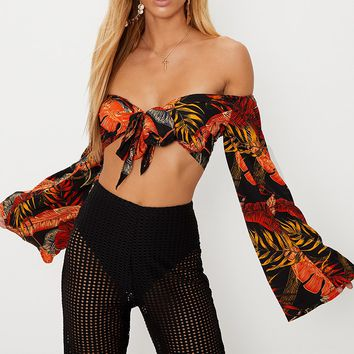 Black Leaf Printed Bardot Tie Front Crop Top