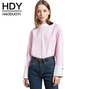 New Fashion Shirts Women Long Sleeve Female Pullover Tops Sweet Style Color Patchwork Ladies Blouses Shirts