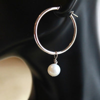 14kt solid gold earrings, white gold earrings, Pearl Drop Earrings, fresh water pearl bridal earrings, hoop earrings, lever back earrings