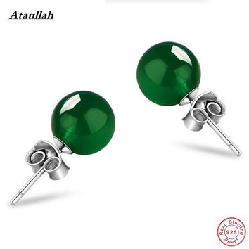 Ataullah Real 925 Sterling Silver Natural Opal Jade Agate Women Stud Earrings Fashion Silver 925 Jewelry Girl Gift EWC029-1