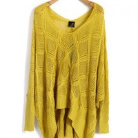 Yellow V Neckline Knitted Jumper with Batwing Sleeves