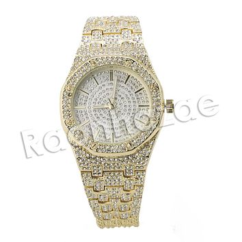 HIP HOP RAONHAZAE 2CHAINZ LUXURY GOLD FINISHED LAB DIAMOND WATCH X6