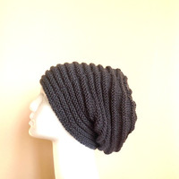 Men Grey Slouchy Knit Hat  - Unisex  Gray Chunky Beanie - Oversize Beret - Fall Winter Fashion