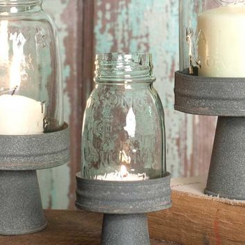 Mason Jar Chimney w/ Rustic Barn Roof Stand 1/4 Pint Candle Holder