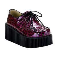 "Demonia Ladies Creeper 208 Purple Leopard Print Glitter Patent Oxford 3"" Platform"