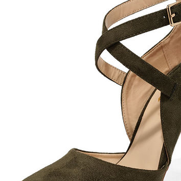 Important Invitee Olive Suede Heels