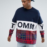 Tommy Hilfiger Denim Oversized Sweatshirt Tommy Tartan Mix in Navy/Red at asos.com