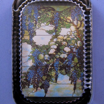 """Tiffany """"Wisteria"""" Stained Glass Window Heirloom Rectangle Glass Paperweight Home Decor"""