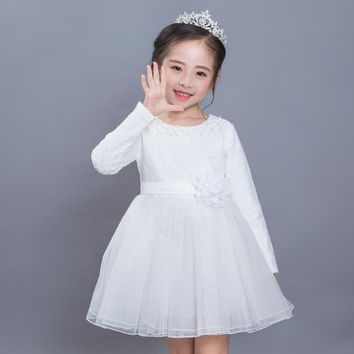 Girls Clothing Ball Gown Flower Winter Autumn Girls Dress Long Sleeve Party and Wedding Kids Clothes Princess Children Costume