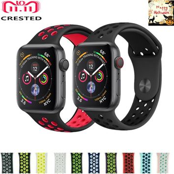 CRESTED silicone Sport strap For Apple Watch band 4 44mm/40mm iwatch series 3/2/1 42mm 38mm wristband bracelet nike belt correa