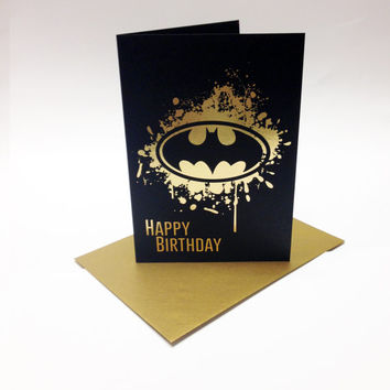 Batman inspired birthday card, with the bat symbol printed in matt gold foil. Size A6.