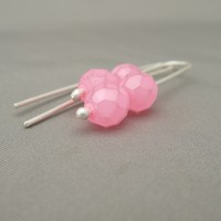 Fairyfloss Pink Czech Glass Sterling Silver Modern Contemporary Drop Earrings | The Silver Forge Handcrafted Jewellery