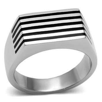 Silver and Black Line Ring