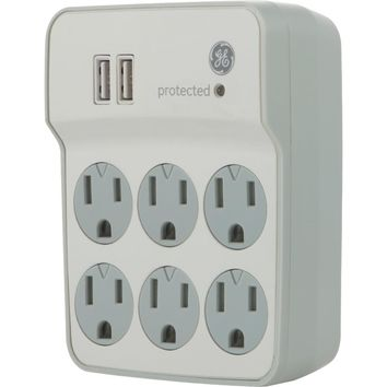 Ge 6-outlet Surge Protector Wall Tap With 2 Usb Ports