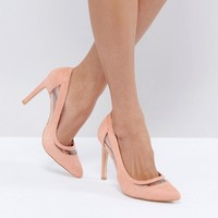 Glamorous Pink Mesh Insert Court Shoes at asos.com