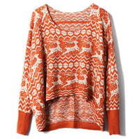 Oversized Batwing Sleeve Orange Jumper [NCSWQ0267] - $38.99 :