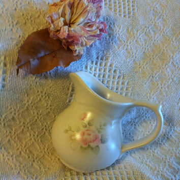 Ceramic Pink Floral Creamer Pfaltzgraff Tea Rose 1980's Vintage Stoneware Vase Pitcher With Pink Green Yellow Blue Flowers