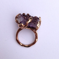 Handmade Purple Geode solid Rose Gold alloy ring