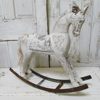 Rocking horse large wooden shabby chic hand painted white gray distressed rusty rocker wood French Nordic inspired sculpture Anita Spero