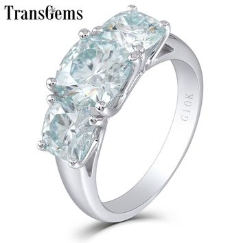Transgems Three Stone Moissanite Engagement Ring 10K White Gold 3 Stone Type Gold Ring for Women Fine Jewelry Wedding Gift