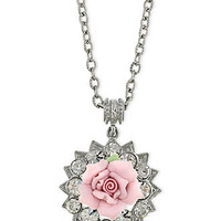 2028 Necklace, Silver-Tone Pink Rose Porcelain Crystal Pendant Necklace - All Fashion Jewelry - Jewelry & Watches - Macy's