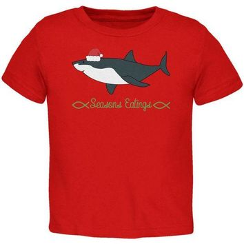 LMFCY8 Christmas Shark Seasons Greetings Funny Pun Toddler T Shirt