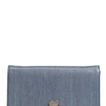 Jimmy Choo Florence Metallic Denim Glitter Clutch | Nordstrom