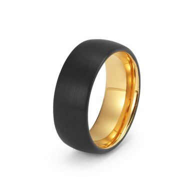 Black Tungsten Ring Yellow Gold Wedding Band Ring Brushed Tungsten Carbide 8mm 18K Tungsten Ring Man Wedding Band Male Women His Hers Matching Anniversary Promise