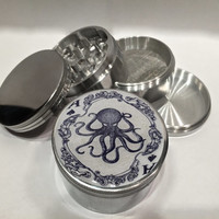 "Vintage Ace of Spades Kraken Octopus Art Playing card 4 Piece Silver Alumium or Zinc Grinder 2.5"" Wide"