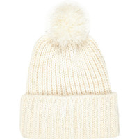 River Island Womens Cream chunky knit beanie hat