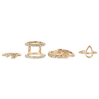 5pk Gold Pave Ring Set