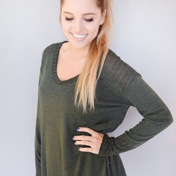 Piper Knit Top Forest Green