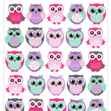 25 Girly Owl Planner Stickers, Erin Condren Planner Stickers, Filofax, Kikki K, Scrapbook Stickers, Calendar Stickers, etc.