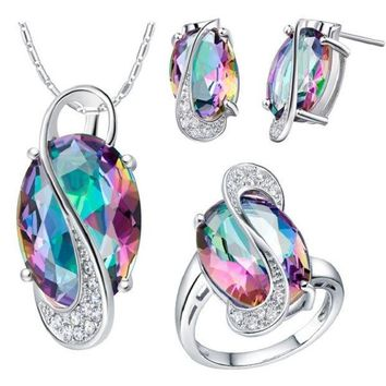 CREYUG3 60% off 2014 Oval Wedding Jewelry Sets for Brides Stud Earrings Ring Necklace Set Crystal Jewelry 925 Sterling Silver Ulove T155
