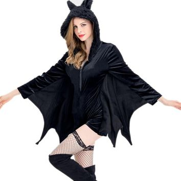 Halloween Bodycon Party Dress Bat Wings Gothic Style V Neck Long Sleeves Plus Size Women Autumn Winter Solid Mini Dresses