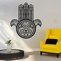 Wall Decal Vinyl Sticker Decals Hamsa Hand Lotus Flower Yoga Namaste Indian Ornament Fatima Hand Wall Stickers Home Decor Art Bedroom Design Interior Mural C1