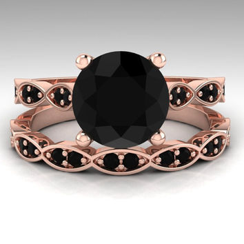 Black Diamond Engagement Ring Set / Rose Gold Bridal Ring Set / Round 2. Carat Natural Black Diamond Wedding Set / 14K Rose Gold / RE00201R