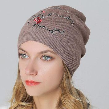 ac PEAPON Wool Knit Winter Ladies Embroidery Pullover Outdoors Thicken Double-layered Hats [110448607257]